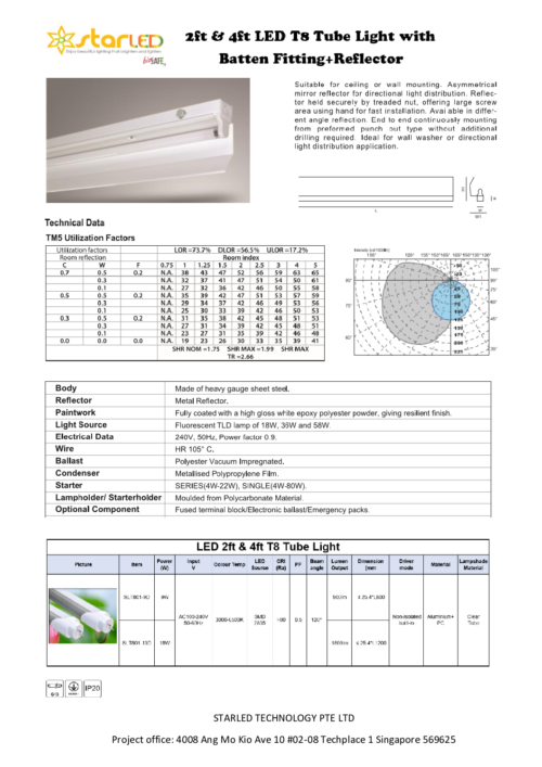 LED 2ft & 4ft T8 Tube Light with Batten Fitting + Reflector