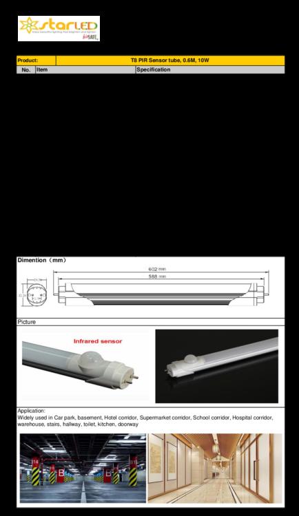 LED 2ft T8 10W Tube Light with PIR Sensor, 0.6M
