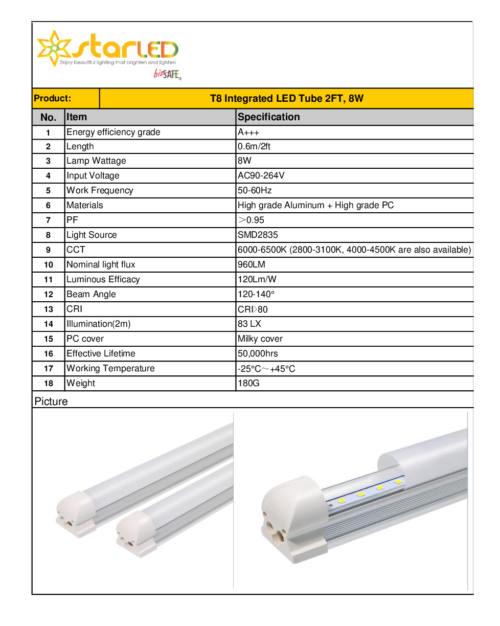 LED 2ft T8 8W IntegratedˇTube