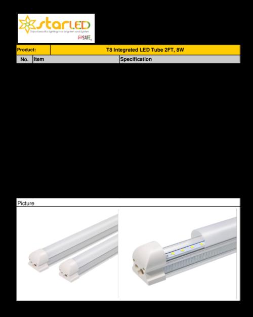 LED 2ft T8 8W IntegratedˇTube