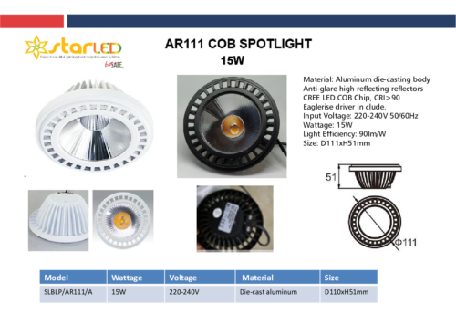 LED 15W AR111 COB Spotlight