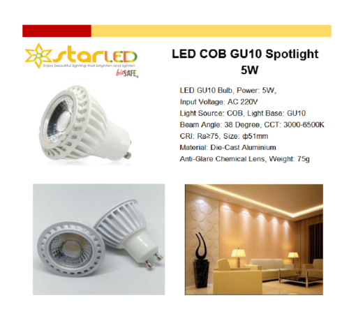 LED 5W COB GU10 Spotlight