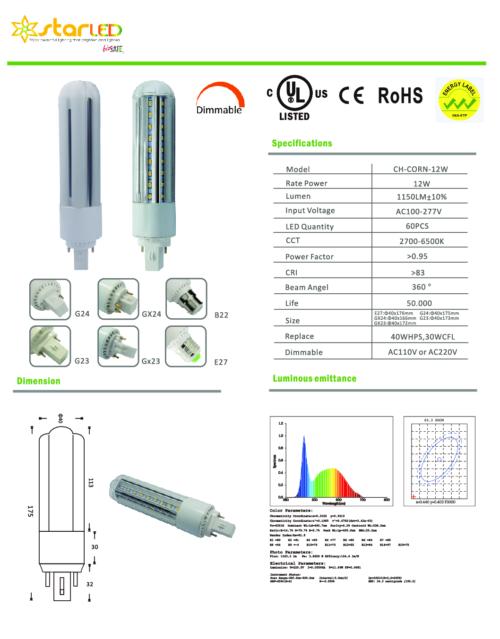 LED 12W E27 Dimmable Corn Bulb
