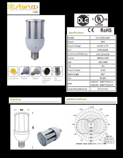 LED 30W E27 Corn Bulb, 360 deg.