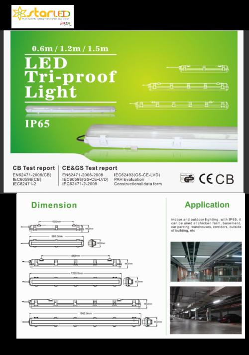 LED 2ft, 4ft, 5ft LED Triproof Light